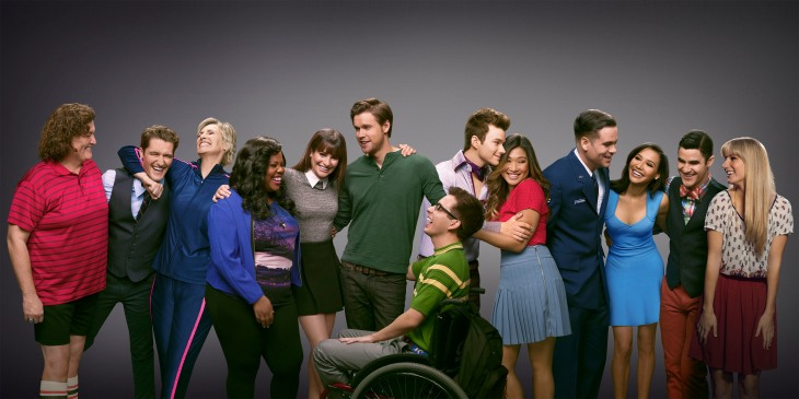 GLEE: The cast in the sixth and final season of GLEE airing Fridays (9:00-10:00 PM ET/PT) on FOX. Pictured L-R: Dot-Marie Jones, Matthew Morrison, Jane Lynch, Amber Riley, Lea Michele, Chord overstreet, Kevin McHale, Chris Colfer, Jenna Ushkowitz, Mark Salling, Naya Rivera, Darren Criss and Heather Morris. CR: Brian Bowen Smith/FOX